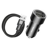 BASEUS 2IN1 2-PORT CAR CHARGER + TYPE-C CABLE BLACK